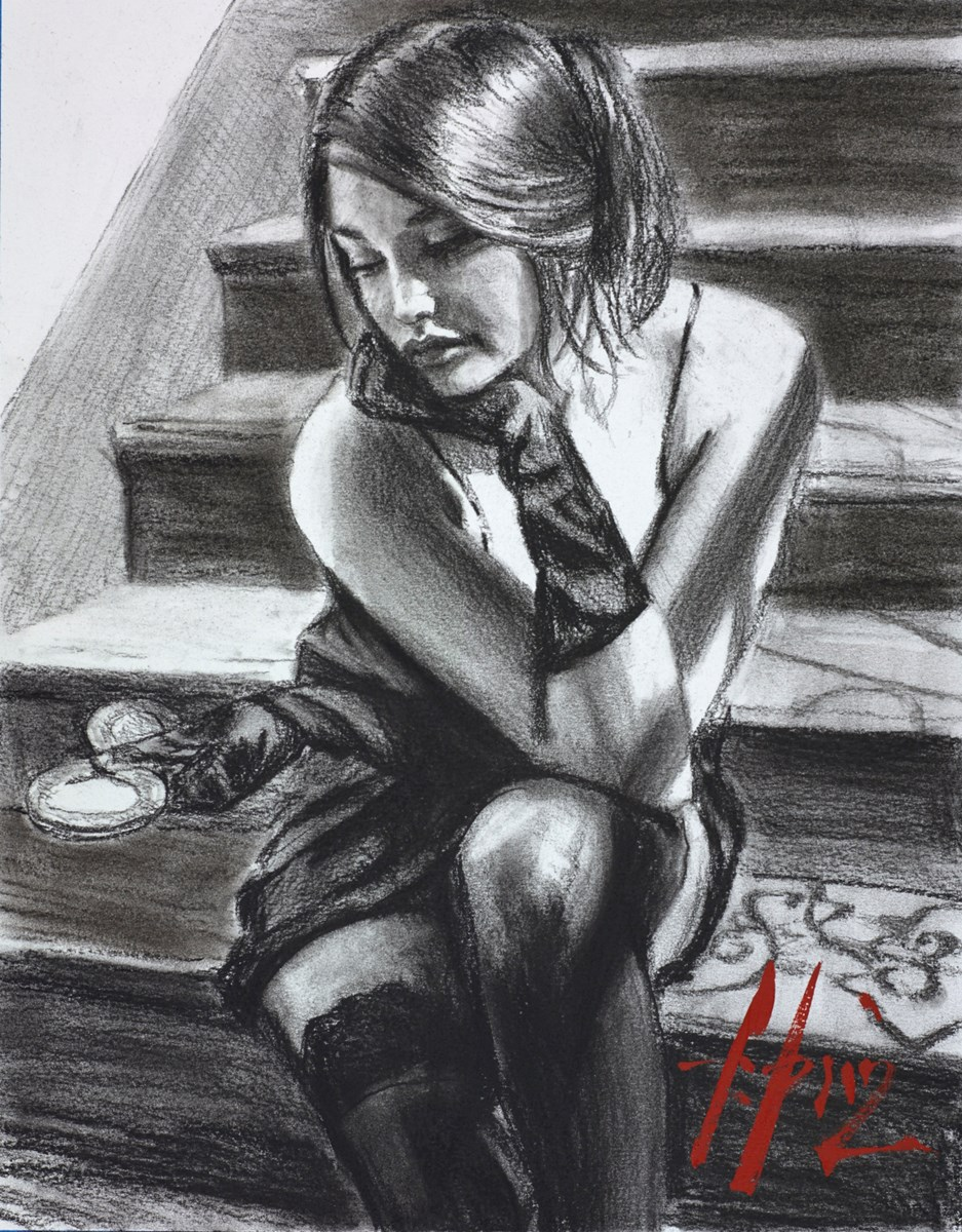 Saba on the Stairs (Charcoal)